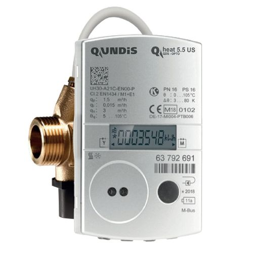 Ultraschall Wärmezähler Qundis Qheat 5.5 US Messing Landis+Gyr UltraHeat T330 Qp 0,6 1,5 2,5 2019